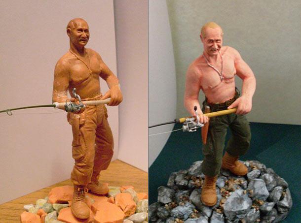 Sculpture: Vladimir Putin at fishing