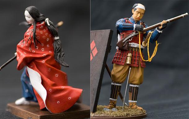 Figures: Samurai Woman and Ashigaru