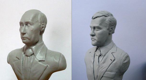 Sculpture: Dmitry Medvedev and Vladimir Putin