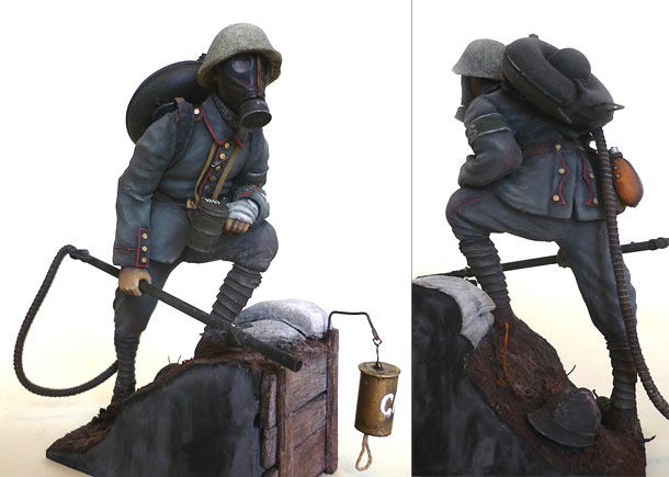 Figures: German flamethrower operator, 1917