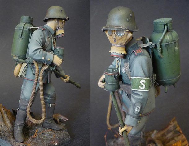 Figures: Flamethrower operator, 23rd reserve div., 1916