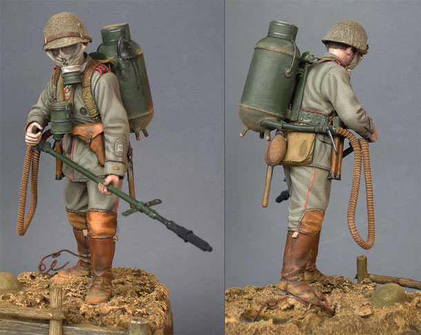 Figures: German flamethrower operator, 1916