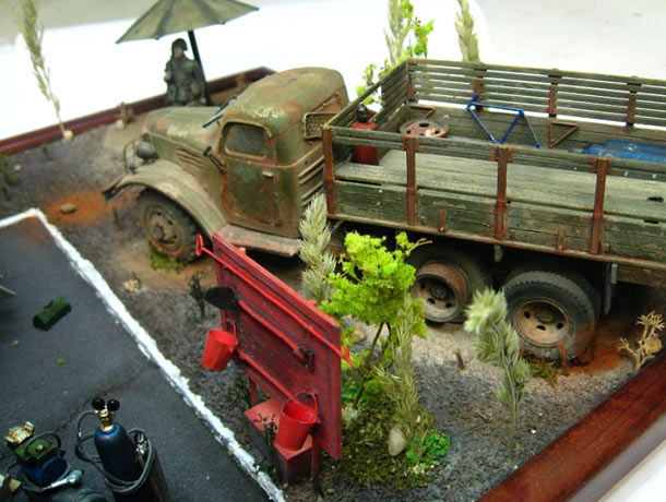 Dioramas and Vignettes: Sketch with trucks