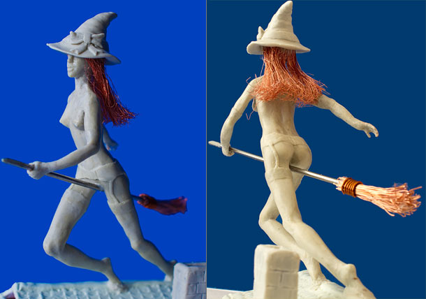 Sculpture: Witch on the broom