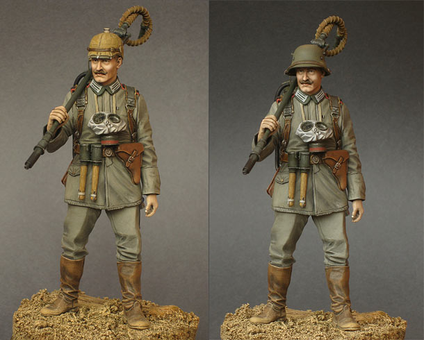 Figures: German flamethrower operator, 1915