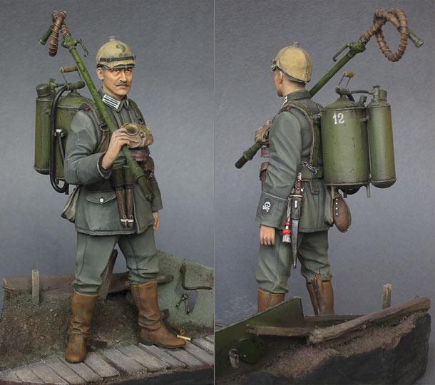 Figures: German flamethrower operator, 1915