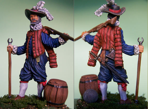 Figures: English veteran musketeer, 1588