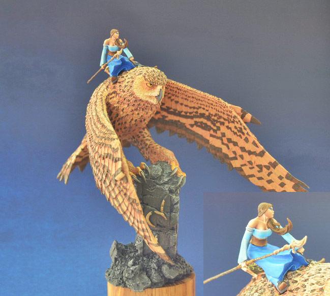 Miscellaneous: Elf on a giant eagle-owl, photo #2