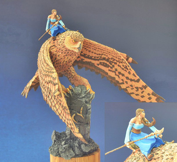 Miscellaneous: Elf on a giant eagle-owl
