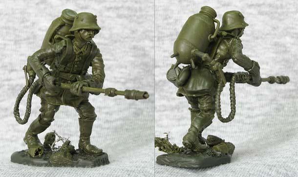 Sculpture: German flamethrower operator, WWI