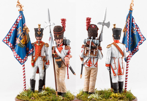 Figures: Standard bearers, 6th Napoli line infantry regt, 1812