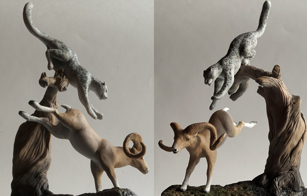 Sculpture: Argali and snow leopard