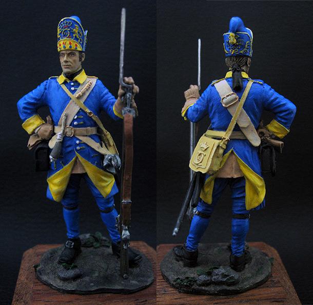 Figures: Grenadier, Mellin regt., Sweden, 1702-10