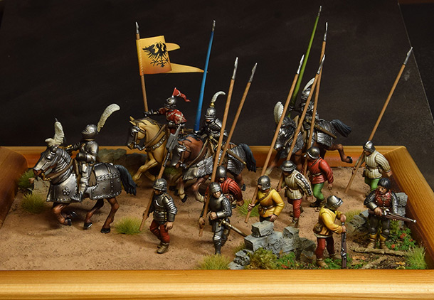 Dioramas and Vignettes: Medieval soldiers at march
