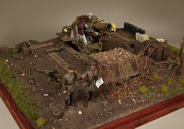 Dioramas and Vignettes: British 9.2 inch mortar at firing position