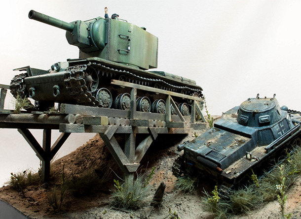 Dioramas and Vignettes: Break a leg. KV-2 and Pz.I