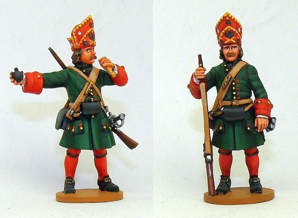 Figures: Russian grenadiers, Great northern war