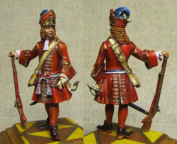 Figures: Senior officer of grenadiers regiments, Russia, 1710