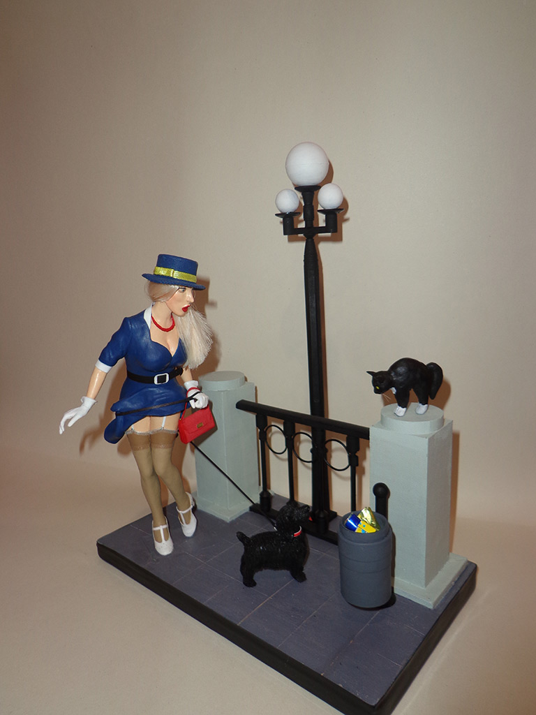 Sculpture: Pin-up girl with dog, 1960s, photo #1