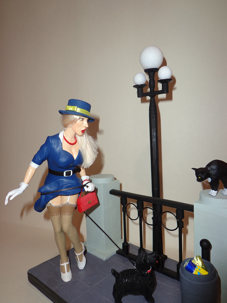 Sculpture: Pin-up girl with dog, 1960s, photo #2
