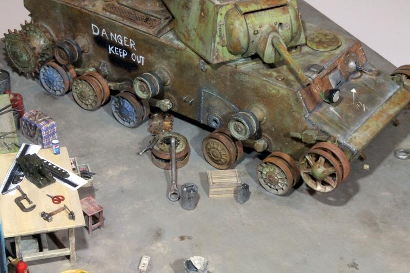 Dioramas and Vignettes: KV-1 at restoration, photo #4