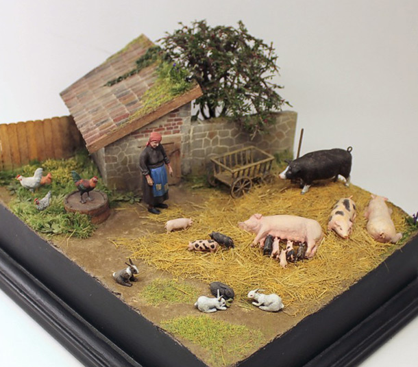 Dioramas and Vignettes: Summer day in countryside