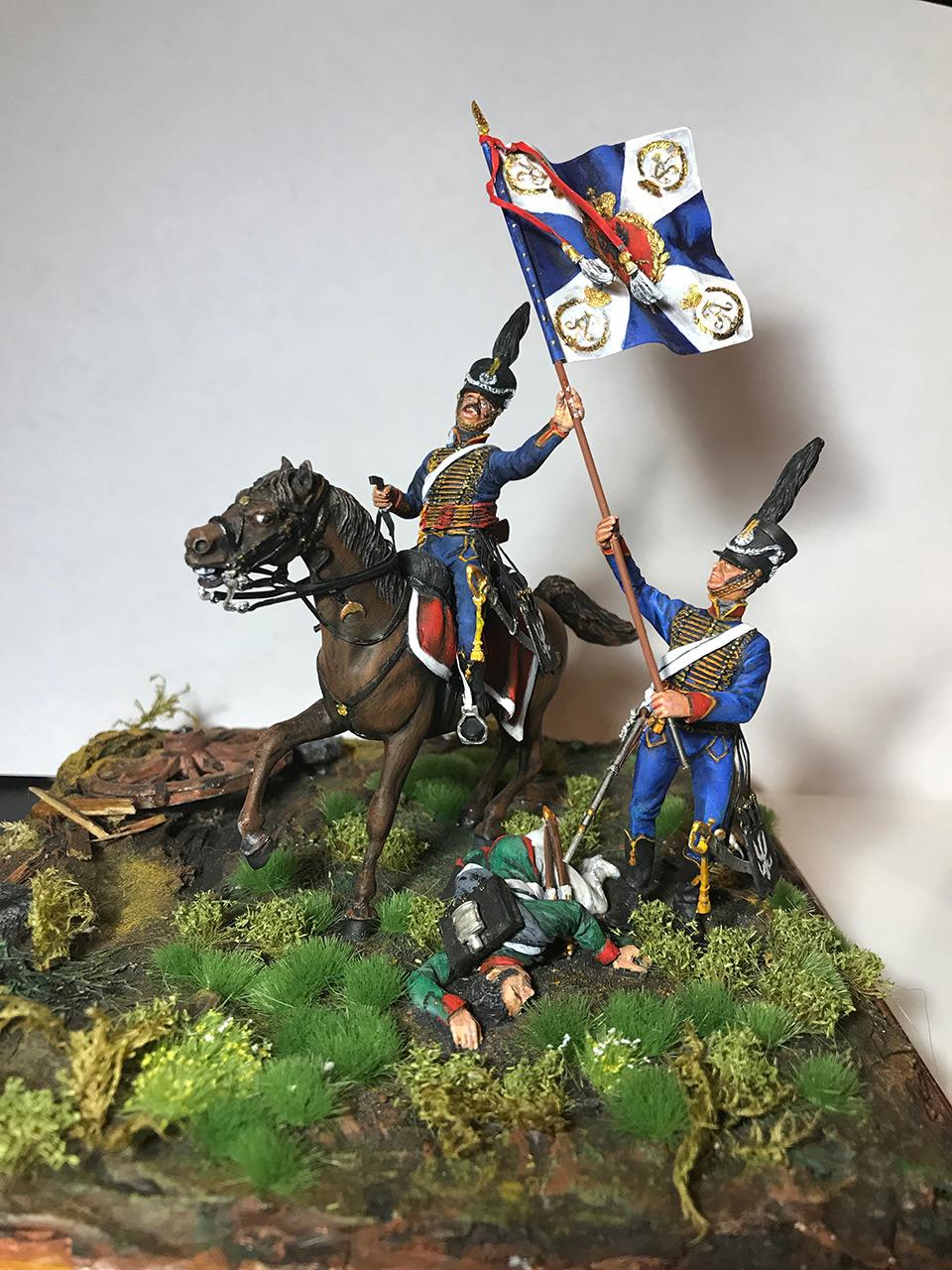 Dioramas and Vignettes: Captured flag. 10 Polish hussars, Russia 1812, photo #1