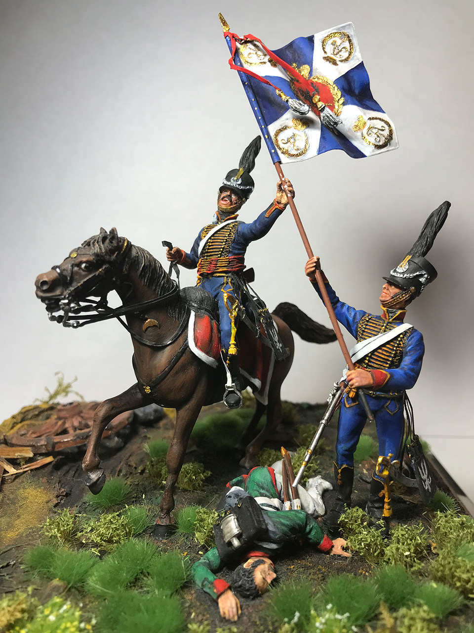 Dioramas and Vignettes: Captured flag. 10 Polish hussars, Russia 1812, photo #3