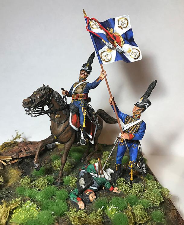Dioramas and Vignettes: Captured flag. 10 Polish hussars, Russia 1812