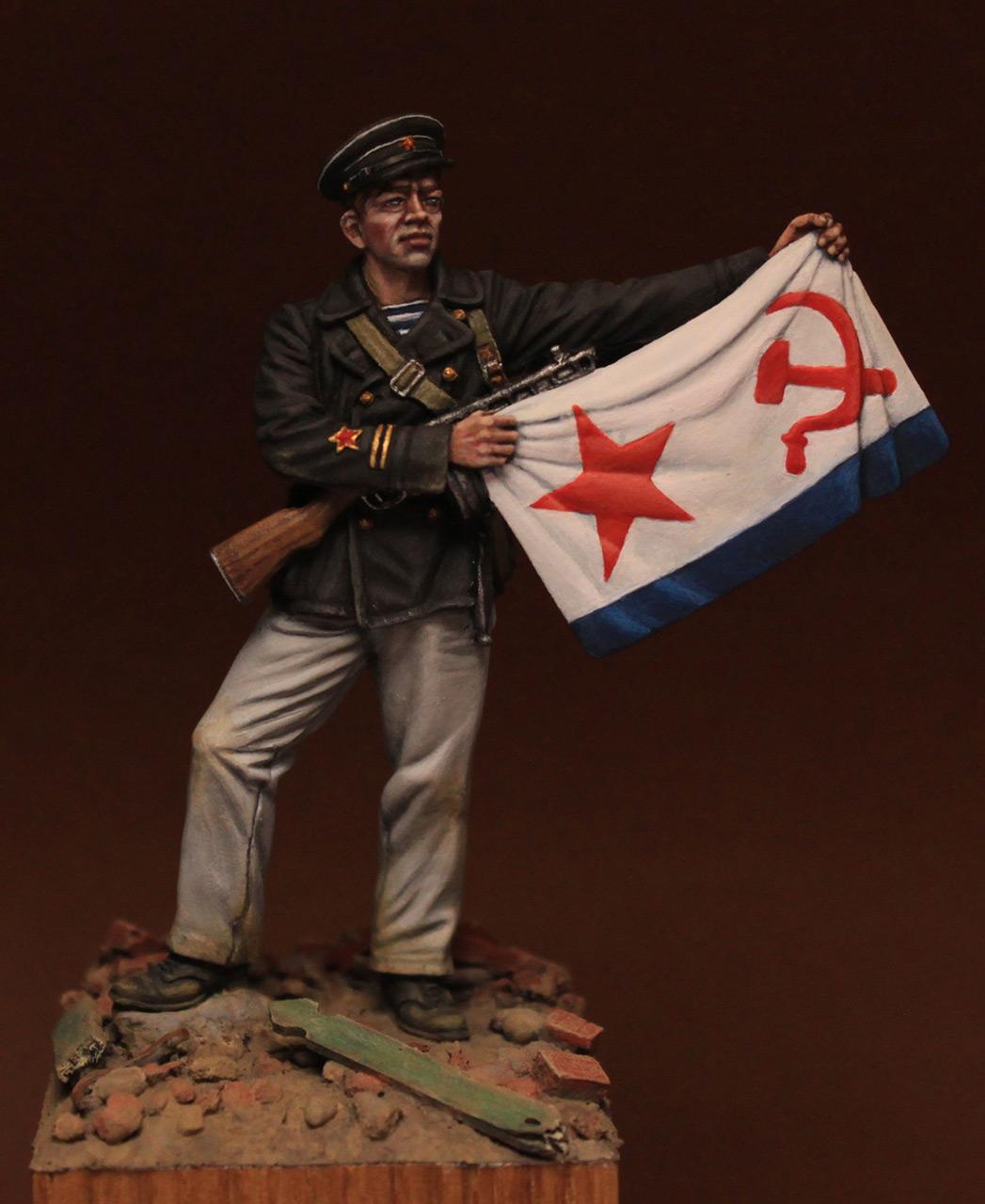 Figures: Petty officer 1st class, Soviet marines, 1942, photo #1