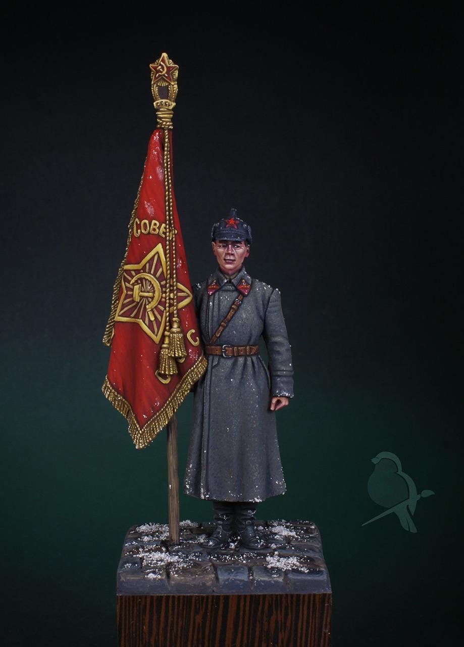 Figures: Senior sergeant with standard, 1941, photo #1