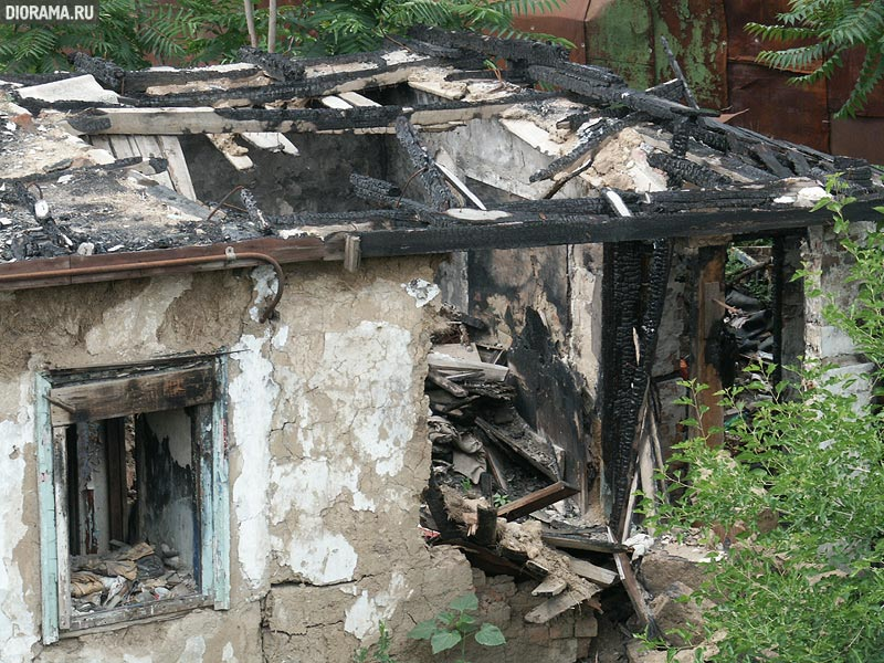 Adobe hut after fire, Rostov-on-Don, Russia (Library Diorama.Ru)